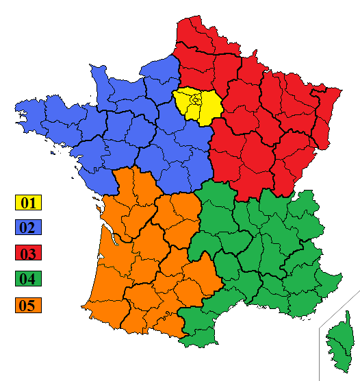 indicatifs telephoniques régionaux en France
